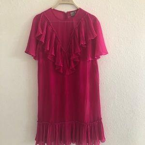 ASOS Hot Pink Ruffle Mini Dress Size 6